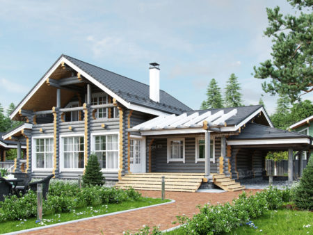 Проект дома из бревна ДК-198
