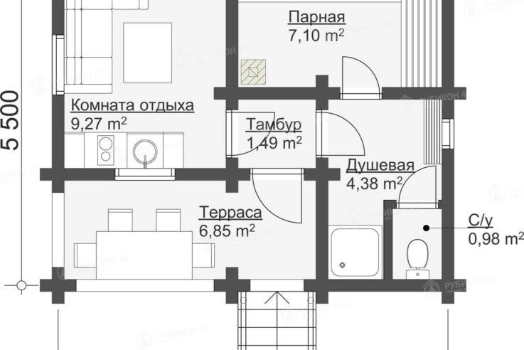 План этажа проекта бани из бревна БК-30