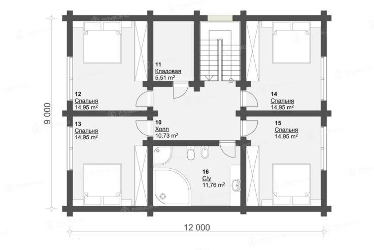 План 2 этажа проекта дома из бревна ДК-195
