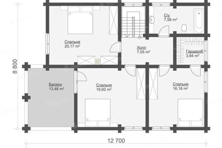 План 2 этажа проекта дома из бревна ДК-190
