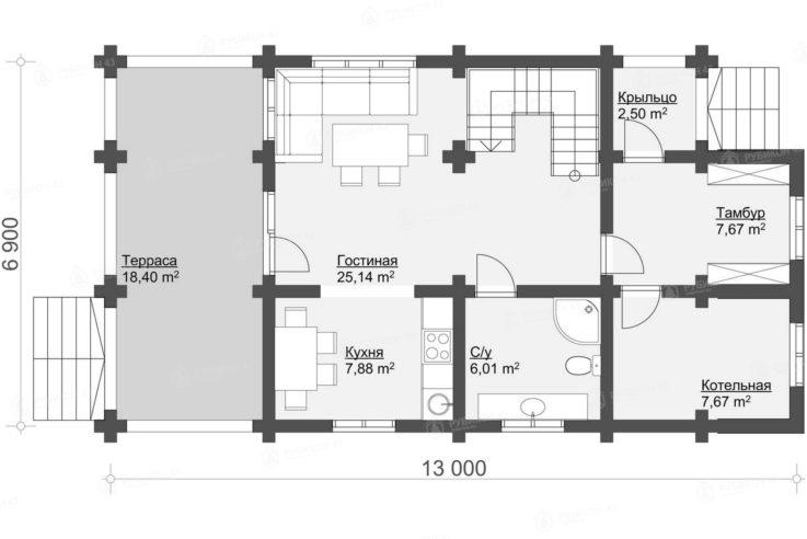 План 1 этажа проекта дома из бревна ДК-131