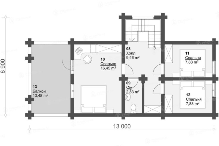 План 2 этажа проекта дома из бревна ДК-131