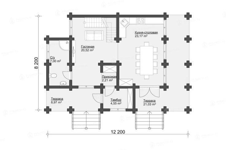 План 1 этажа проекта дома из бревна ДК-140