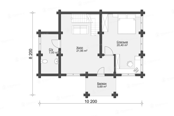 План 2 этажа проекта дома из бревна ДК-140