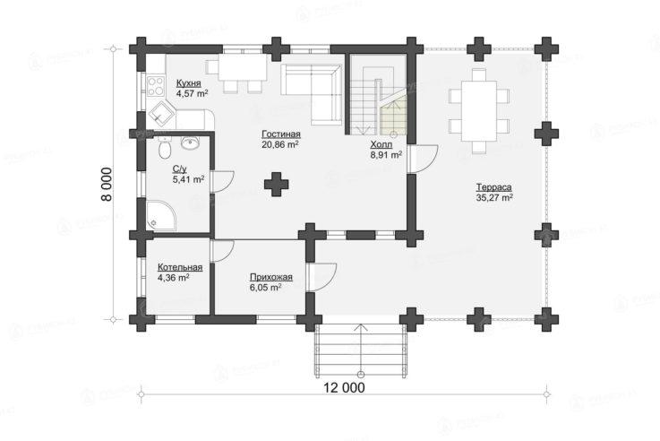 План 1 этажа проекта дома из бревна ДК-149