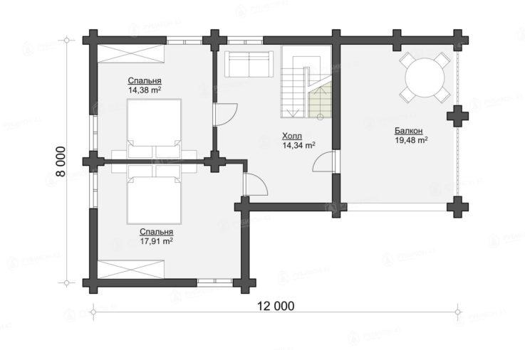 План 2 этажа проекта дома из бревна ДК-149
