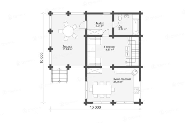 План 1 этажа проекта дома из бревна ДК-150