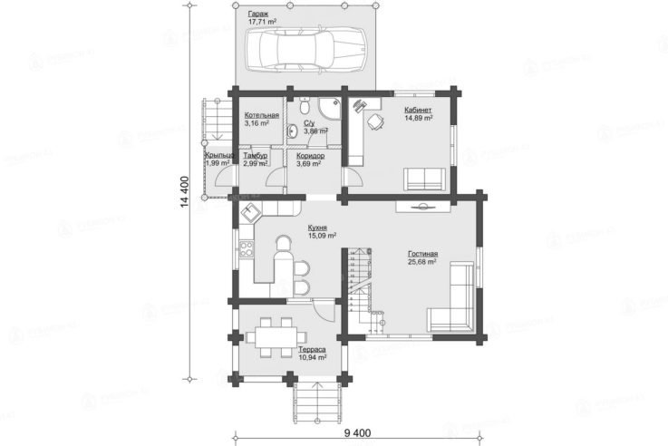 План 1 этажа проекта дома из бревна ДК-152