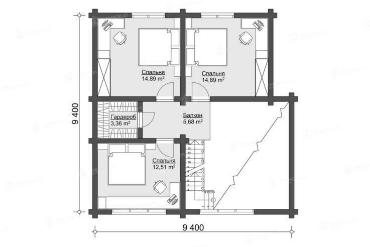 План 2 этажа проекта дома из бревна ДК-152