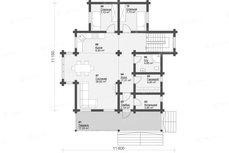 План 1 этажа проекта дома из бревна ДК-168