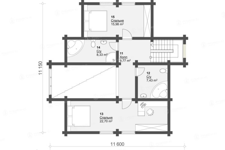План 2 этажа проекта дома из бревна ДК-168