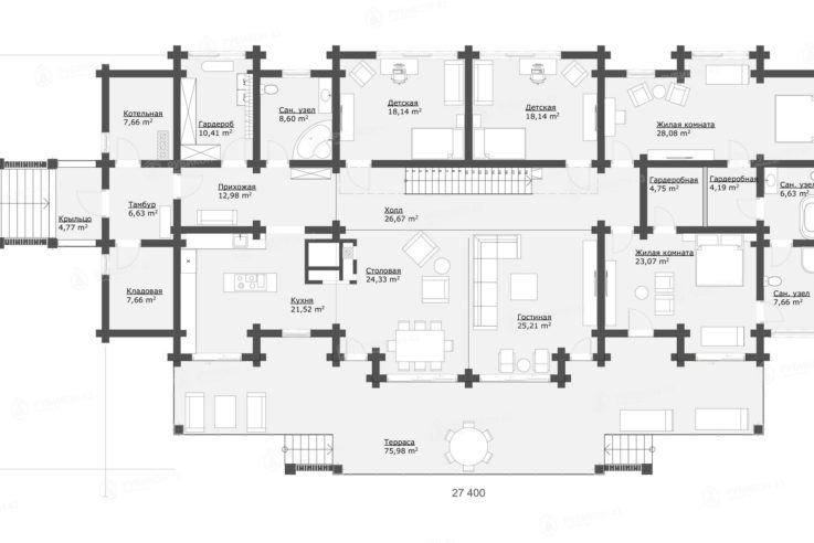 План 1 этажа проекта дома из бревна ДК-375