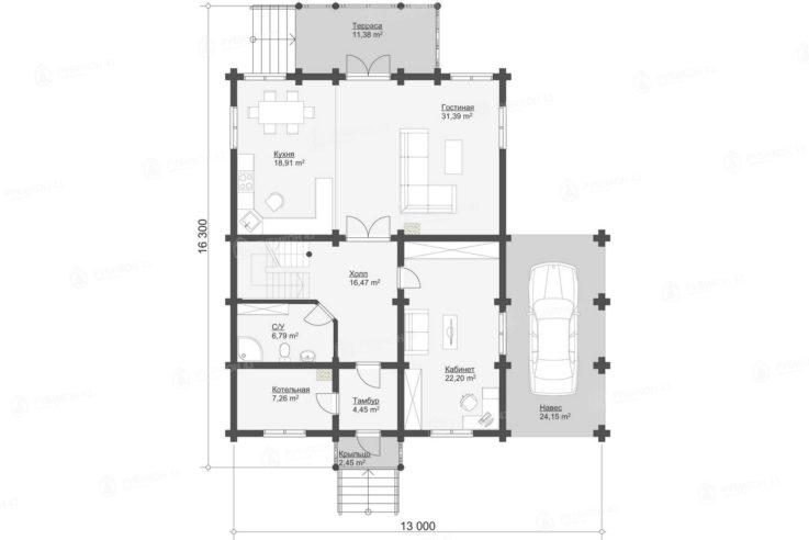 План 1 этажа проекта дома из бревна ДК-245