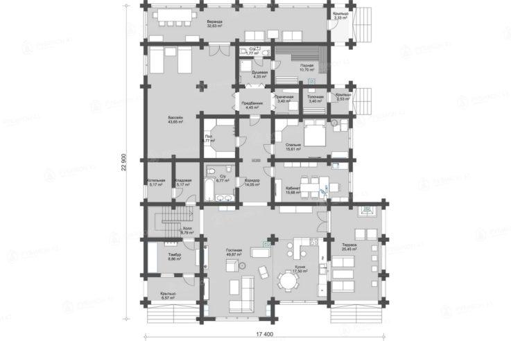 План 1 этажа проекта дома из бревна ДК-480
