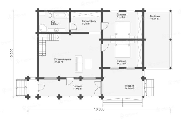 План 1 этажа проекта дома из бревна ДК-198