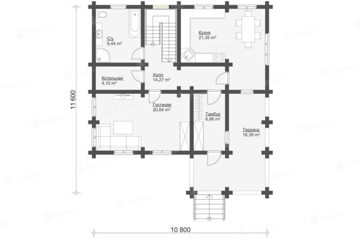 План 1 этажа проекта дома из бревна ДК-177