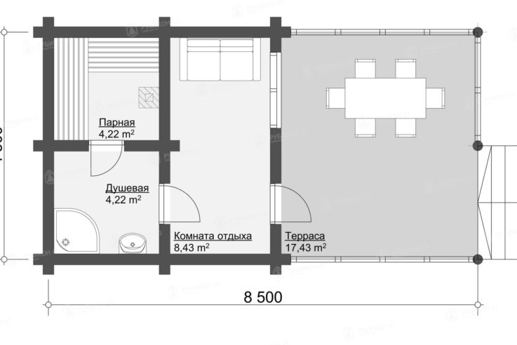 План этажа проекта бани из бревна БК-35