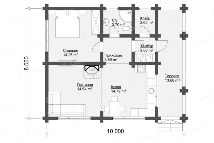 План проекта дома из бревна ДК-69