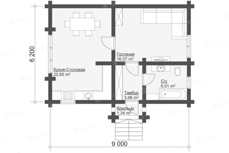 План проекта дома из бревна ДК-48