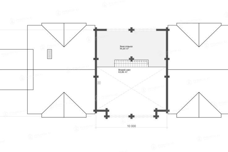 План 2 этажа проекта дома из бревна ДК-375