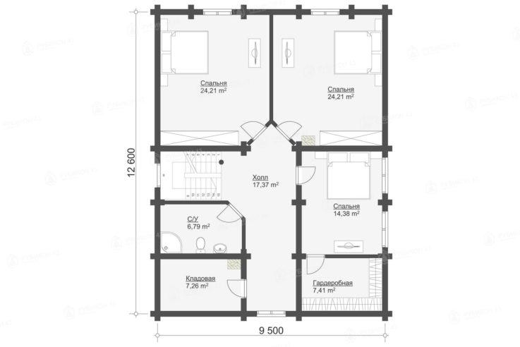 План 2 этажа проекта дома из бревна ДК-245