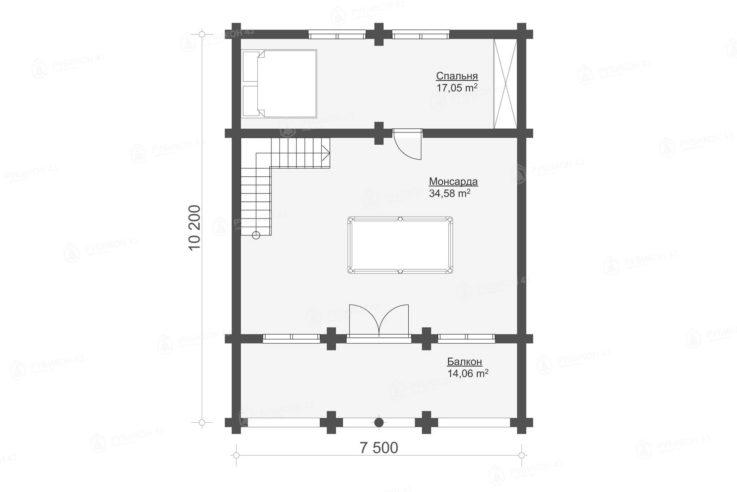 План 2 этажа проекта дома из бревна ДК-198