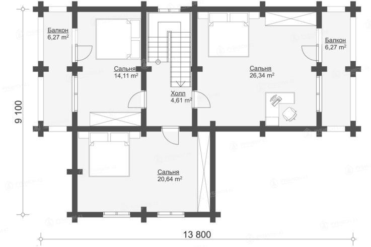План 2 этажа проекта дома из бревна ДК-177