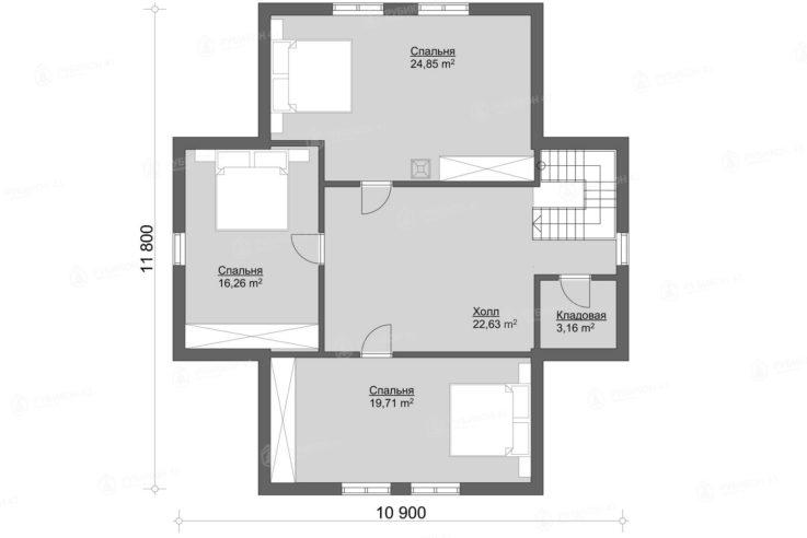 План 2 этажа проекта дома из бревна ДК-176
