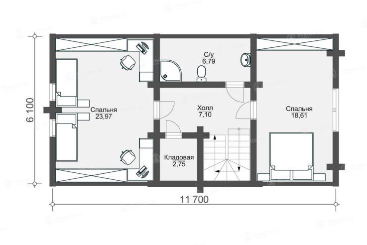 План 2 этажа проекта дома из бревна ДК-153