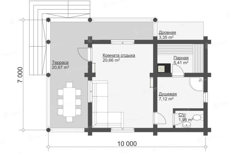 План проекта бани из бревна БК-60
