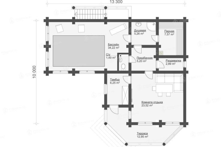 План проекта бани из бревна БК-99