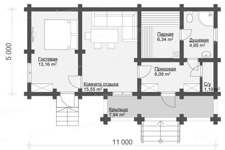План проекта бани из бревна БК-56