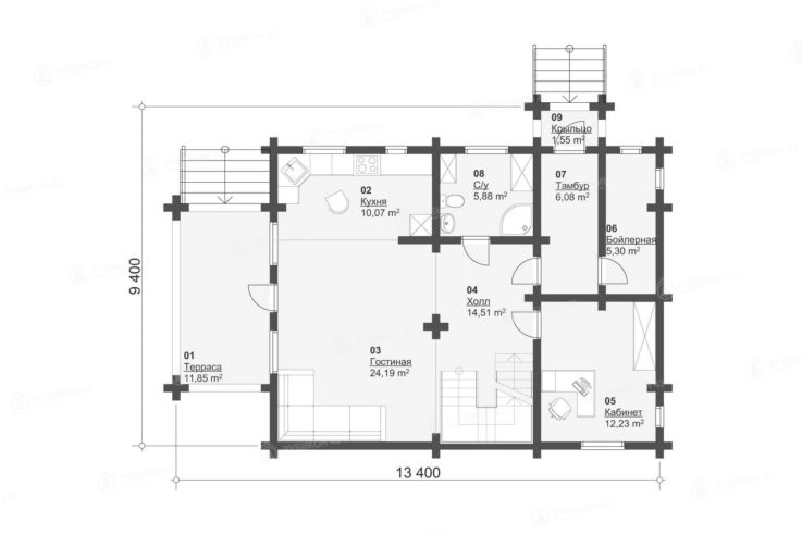 План 1 этажа проекта дома из бревна ДК-138