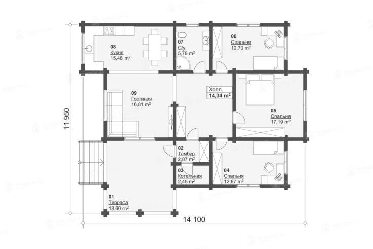 План проекта дома из бревна ДК-110