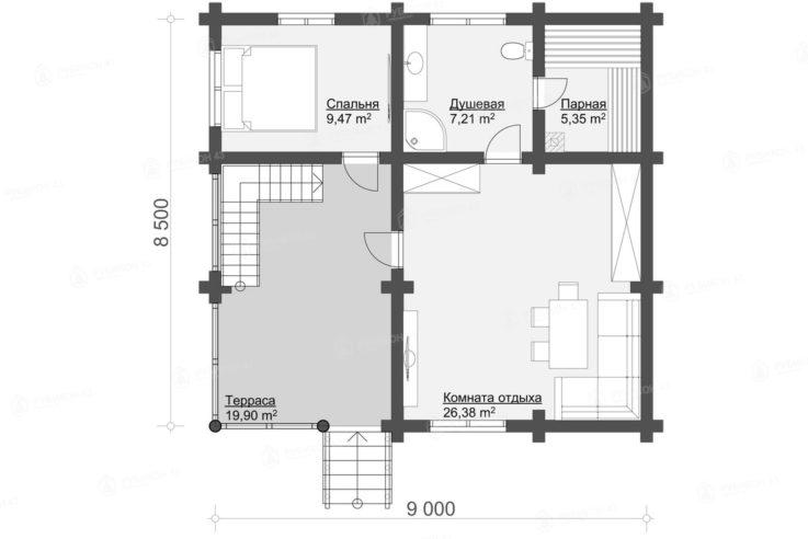 План 1 этажа проекта бани из бревна БК-124