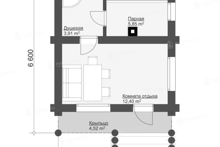 План этажа проекта бани из бревна БК-27