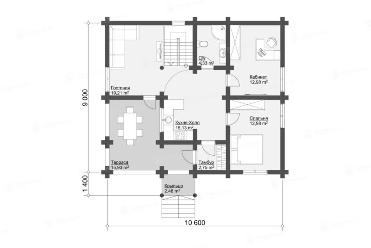 План 1 этажа проекта дома из бревна ДК-154
