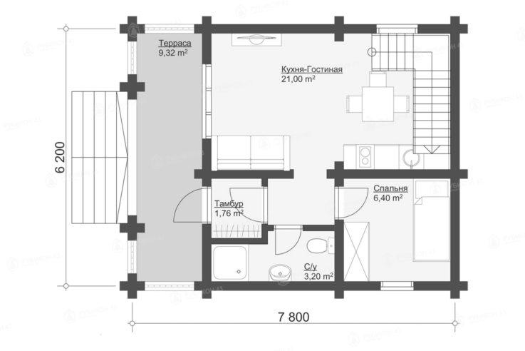 План 1 этажа проекта дома из бревна ДК-82