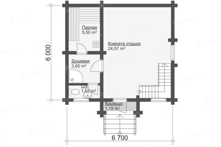 План 1 этажа проекта бани из бревна БК-73