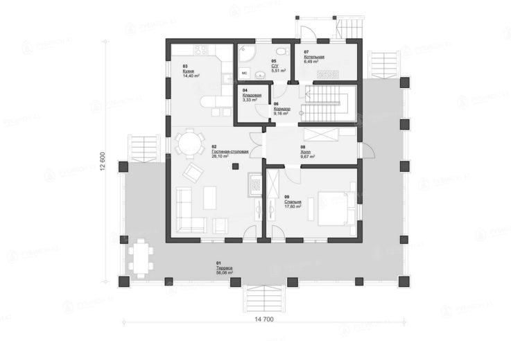 План 1 этажа проекта дома из бревна ДК-283