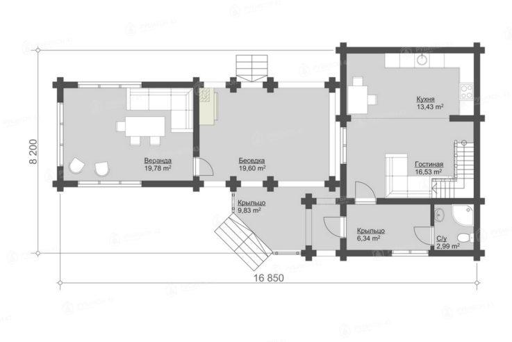 План 1 этажа проекта дома из бревна ДК-116