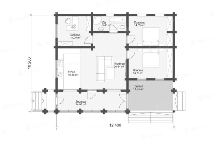 План проекта дома из бревна ДК-112