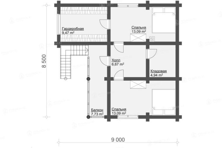 План 2 этажа проекта бани из бревна БК-124