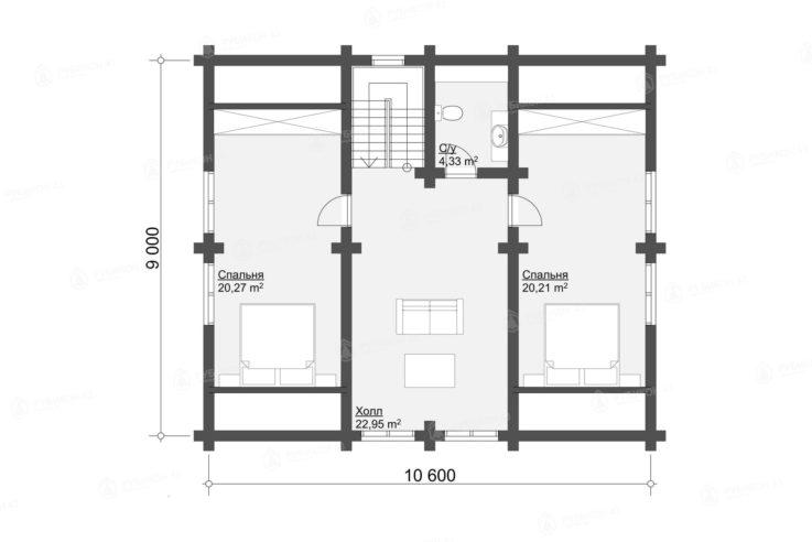 План 2 этажа проекта дома из бревна ДК-154