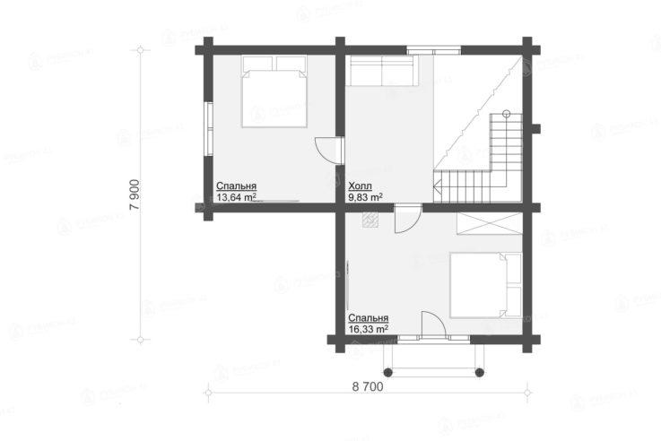 План 2 этажа проекта дома из бревна ДК-106