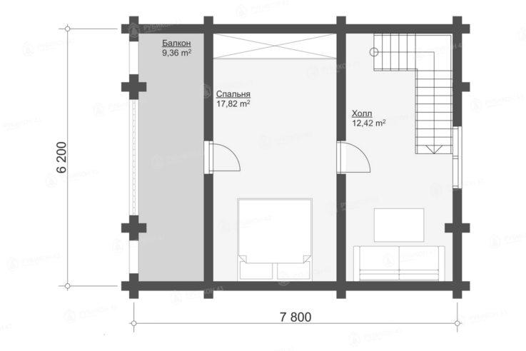 План 2 этажа проекта дома из бревна ДК-82