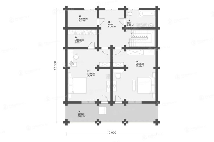 План 2 этажа проекта дома из бревна ДК-283