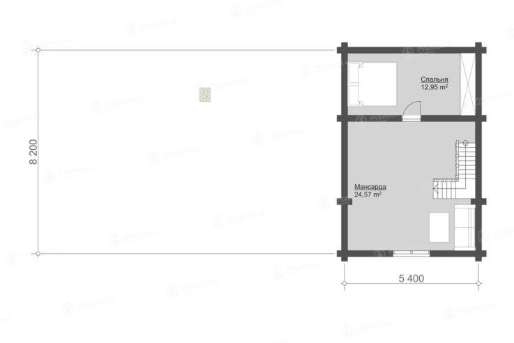 План 2 этажа проекта дома из бревна ДК-116