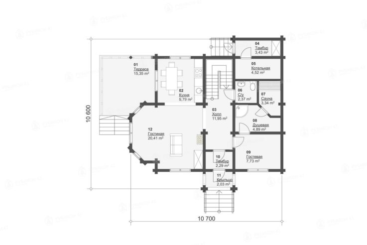 План 1 этажа проекта дома из бревна ДК-155